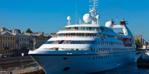 cruise liner in the port of saint petersburg